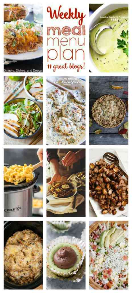 Weekly Meal Plan Week 87 – 11 great bloggers bringing you a full week of recipes including dinner, sides dishes, and desserts!