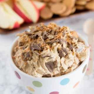 Peanut Butter Butterfinger dip in a bowl