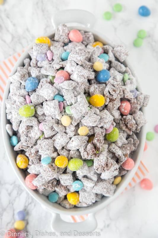 bowl of muddy buddies with easter M&M\'s