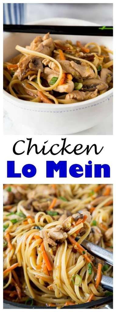 chicken lo mein in a bowl with chopsticks