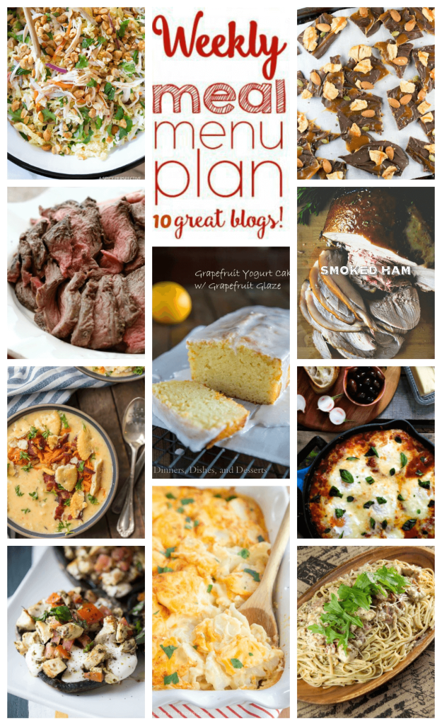 Weekly Meal Plan Week 91 - 11 great bloggers bringing you a full week of recipes including dinner, sides dishes, and desserts!