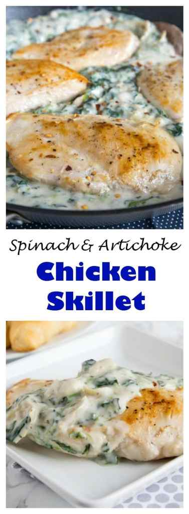 Spinach and Artichoke Chicken Skillet - Turn your favorite dip into a 5 ingredient, quick and easy chicken dinner!