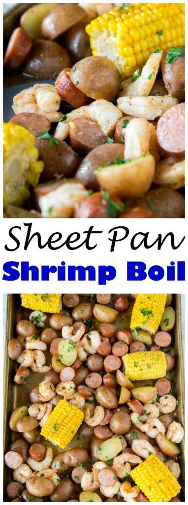 A bunch of different types of food, with Shrimp and Sheet pan