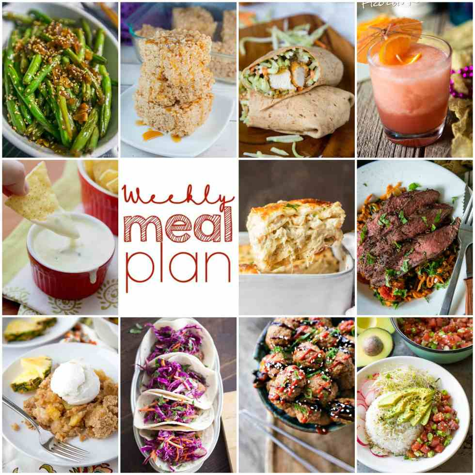 Weekly Meal Plan Week 99 - 10 great bloggers bringing you a full week of recipes including dinner, sides dishes, and desserts!