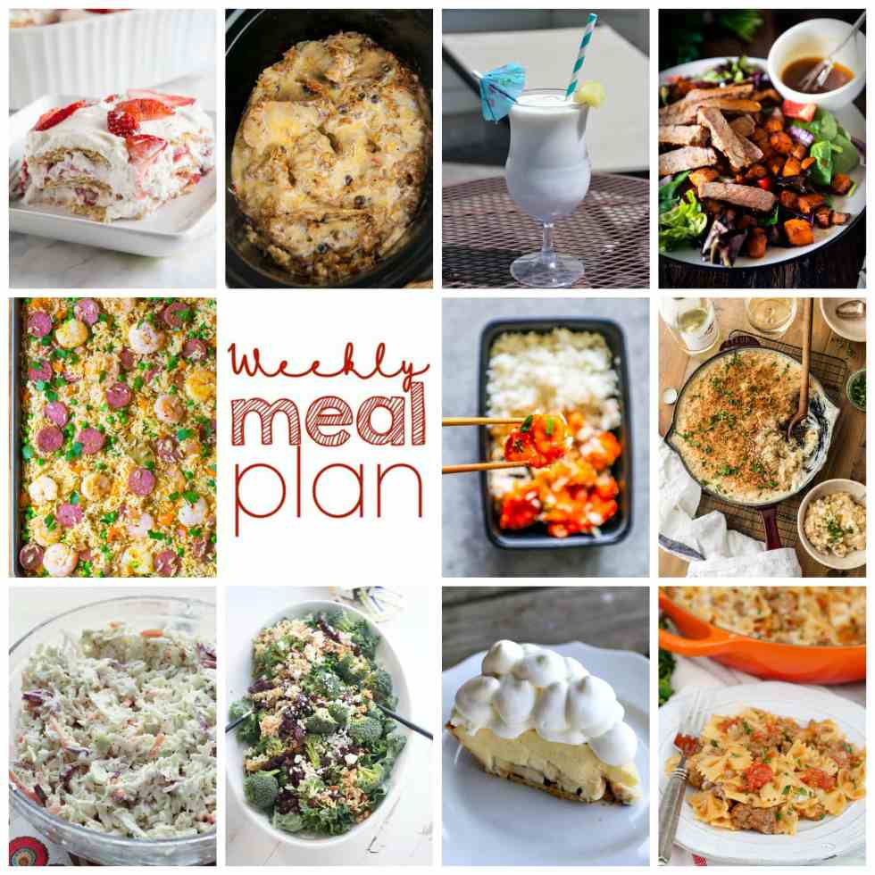 Weekly Meal Plan Week 102 – 10 great bloggers bringing you a full week of recipes including dinner, sides dishes, and desserts!