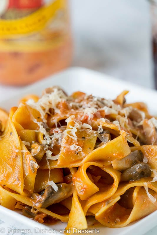 Pappardelle Pasta in Mushroom Sauce - a hearty thick cut pasta in a classic mushroom sauce. Inspired by Italy, made at home in under 30 minutes!