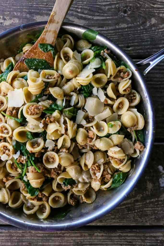 Creamy Spinach Sausage Pasta {Foodie with Family}