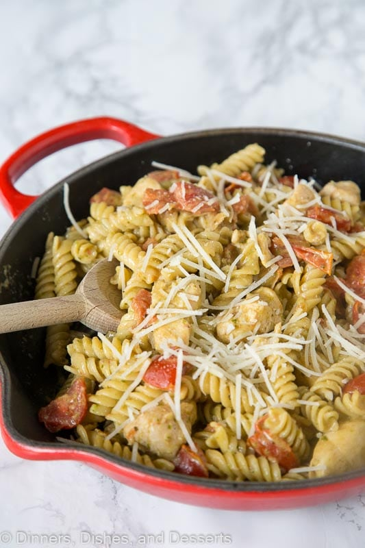 pesto chicken pasta in a skillet