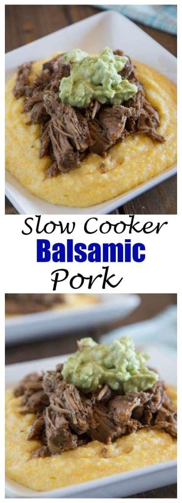 Slow Cooker Balsamic Pork - Creamy polenta topped with slow cooker balsamic pork and a creamy avocado cream. Super easy comfort food!