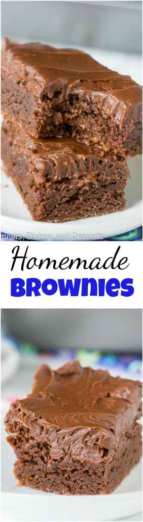 Easy Homemade Brownies Recipe - an easy one bowl brownie recipe that are super fudgy, chocolately, and delicious!