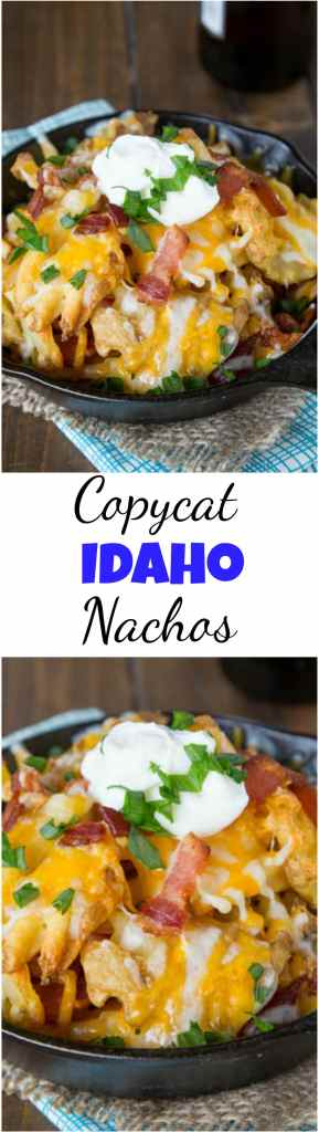 Copycat Granite City Idaho Nachos - a restaurant favorite appetizer at home!  Crispy waffle fries topped with bacon, green onions and lots of melty cheese!