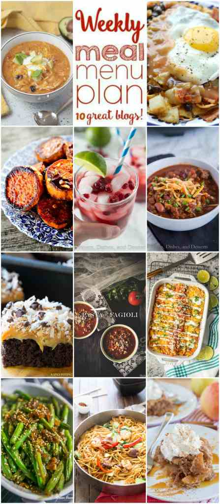 Weekly Meal Plan Week 121 -10 great bloggers bringing you a full week of recipes including dinner, sides dishes, and desserts!