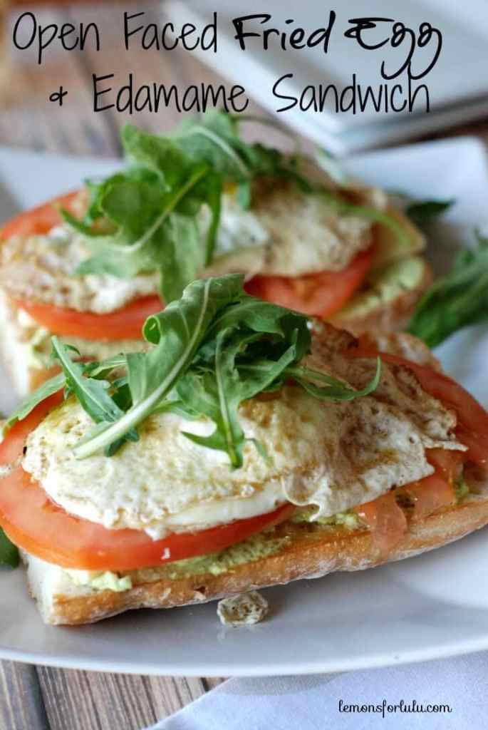 Open Faced Fried Egg Sandwich with Edamame {Lemons for Lulu}