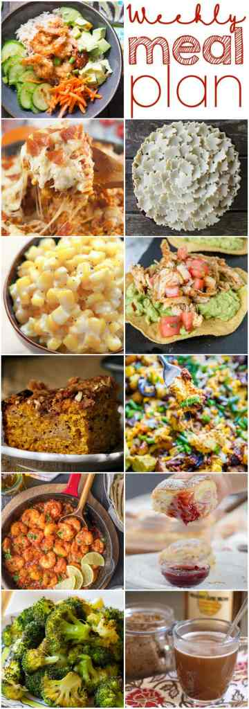 Weekly Meal Plan Week 120 -10 great bloggers bringing you a full week of recipes including dinner, sides dishes, and desserts!