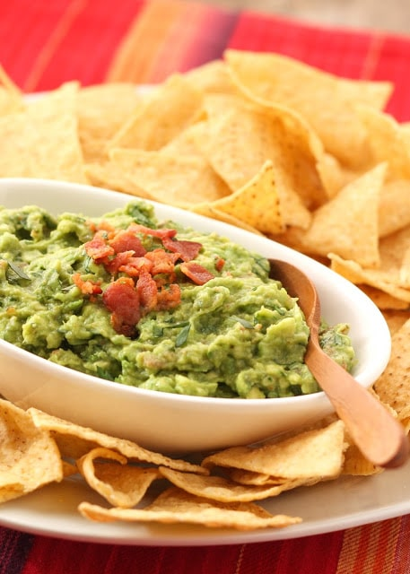 Roasted Garlic and Bacon Guacamole {Barefeet in the Kitchen}