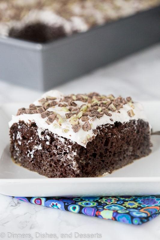 Irish Cream Chocolate Poke Cake - a boozy dessert with Irish Cream liquor