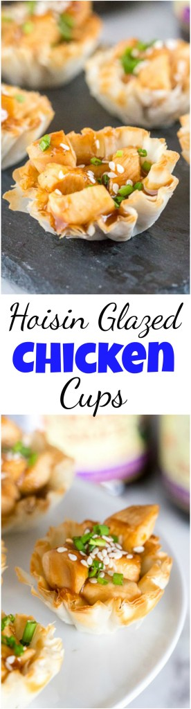 Hoisin Glazed Chicken Cups are perfect for entertaining. Easy to make, and absolutely irresistible on the holiday buffet! #appetizers #asian #phyllocups #chicken #hoisinglaze #holidayappetizers