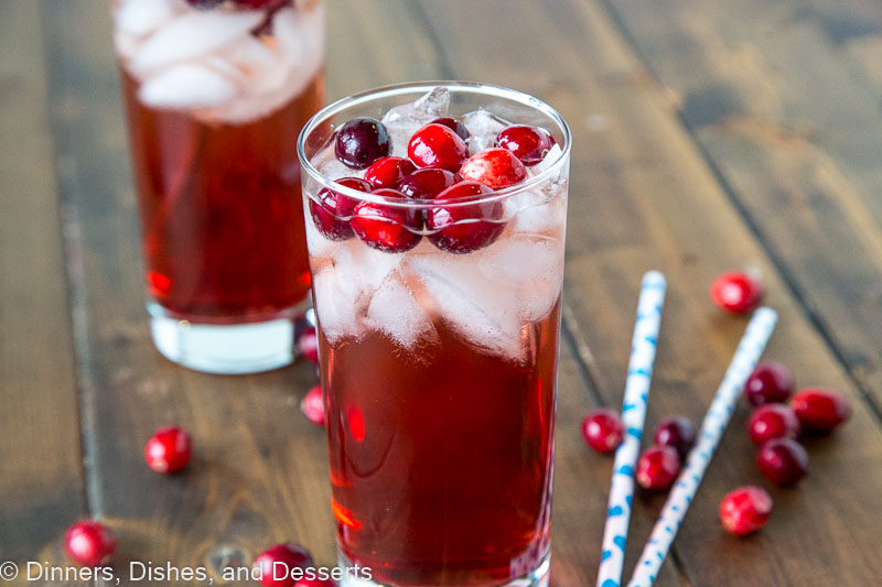 Holiday Wine Spritzer - white wine, cranberry juice, and ginger ale