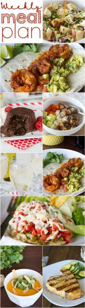 Weekly Meal Plan Week 129 - Make the week easy with this delicious meal plan.  6 dinner recipes, 1 side dish, 1 dessert, and 1 fun cocktail make for a tasty week!