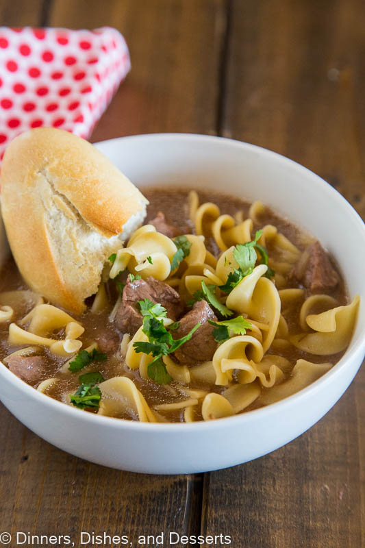 Beef and Noodles Soup - use the crock pot to make this super easy soup recipe. Tender beef, noodles, and a delicious broth make for a comforting soup.