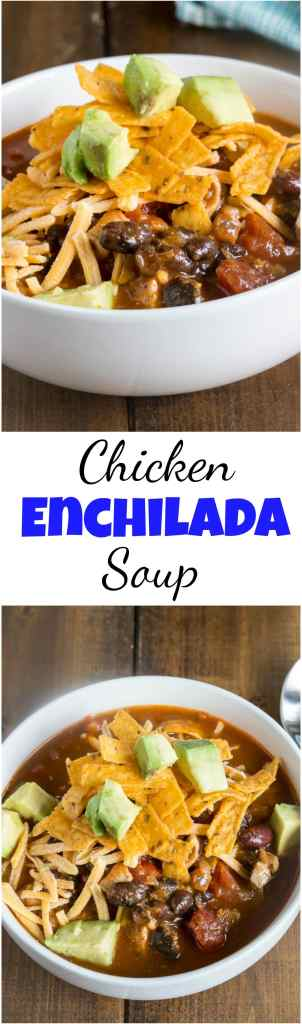 Chicken Enchilada Soup - get all the flavor of your favorite chicken enchiladas in a hearty soup you can make in minutes!  #soup #dinner #comfortfood #easydinner #dinnerideas #quickdinner #enchiladasoup #chickenenchilada #food #recipe #comfortfood