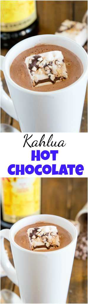 Kahlua Hot Chocolate - warm up with this easy homemade hot chocolate that is spiked with Kahula! Perfect after a day on the slopes or just because you want a special treat! #drinks #goodcall #kahlua #drink #recipe #hotchocolate #spikedhotchocolate #alcohol #cocktail #drinkup
