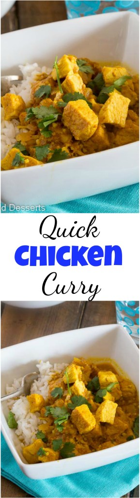 Quick Chicken Curry Recipe - an easy Indian chicken curry you can make in minutes, even on your busiest night! #food #recipe #chickencurry #currychicken #chickenrecipe #dinner #quickandeasy #indianfood #eating