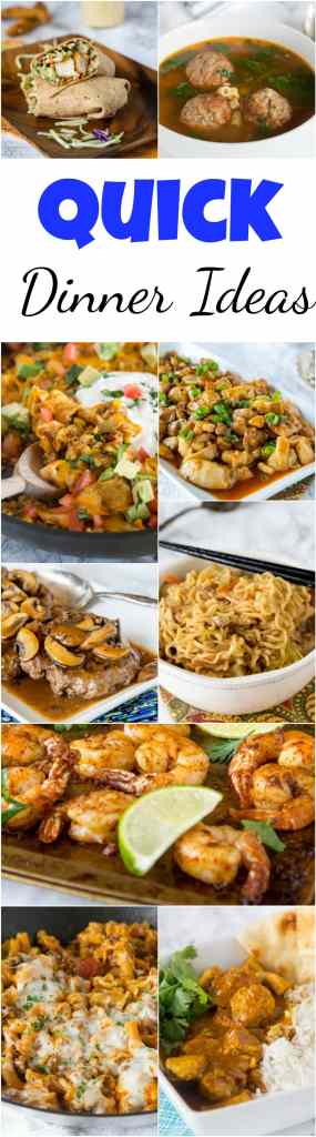Quick Dinner Ideas - Need to get dinner on the table fast? Don't have time to prep a bunch of stuff or stand around cooking for 45 minutes? Here are 20 quick dinner ideas that you can get on the table in 15-30 minutes!