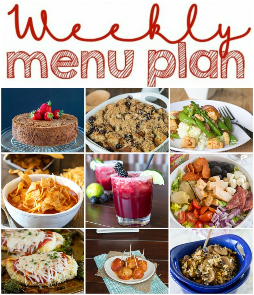 Weekly Meal Plan Week 130 - Make the week easy with this delicious meal plan. 6 dinner recipes, 1 side dish, 1 dessert, and 1 fun cocktail make for a tasty week!