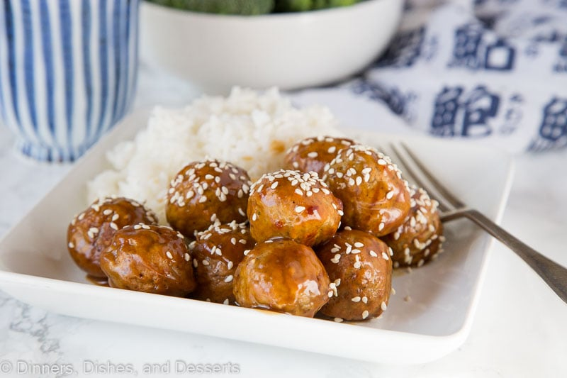 Kung Pao Chicken Meatballs - take the classic kung pao chicken stir fry and turn it into a fun meatballs dinner. Chicken meatballs tossed with kung pao sauce and served with rice and veggies for a quick and easy dinner.