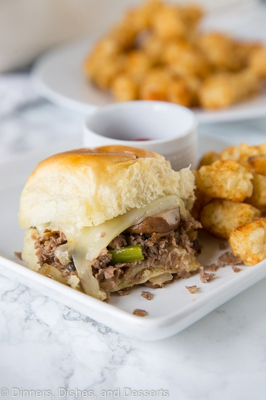 Cheesesteak sliders on a plate