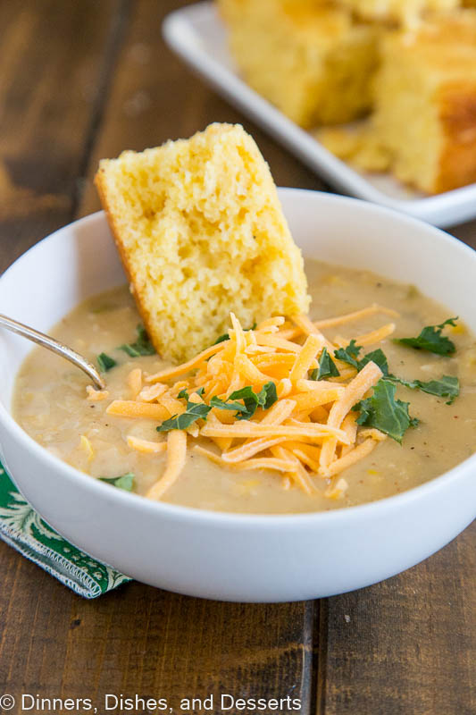 Southwestern Chicken Corn Chowder - a super fast and easy soup you can make any night of the week.  Thick, creamy, and actually good for you!