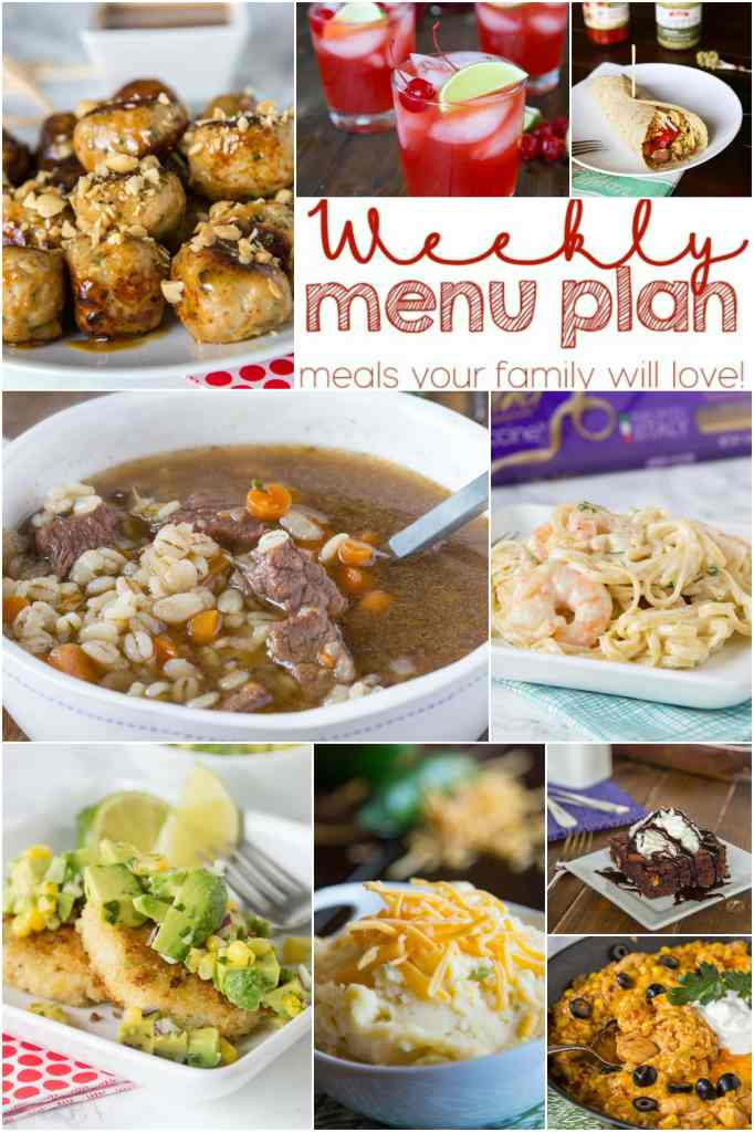 Weekly Meal Plan Week 143 - Make the week easy with this delicious meal plan. 6 dinner recipes, 1 side dish, 1 dessert, and 1 fun cocktail make for a tasty week!