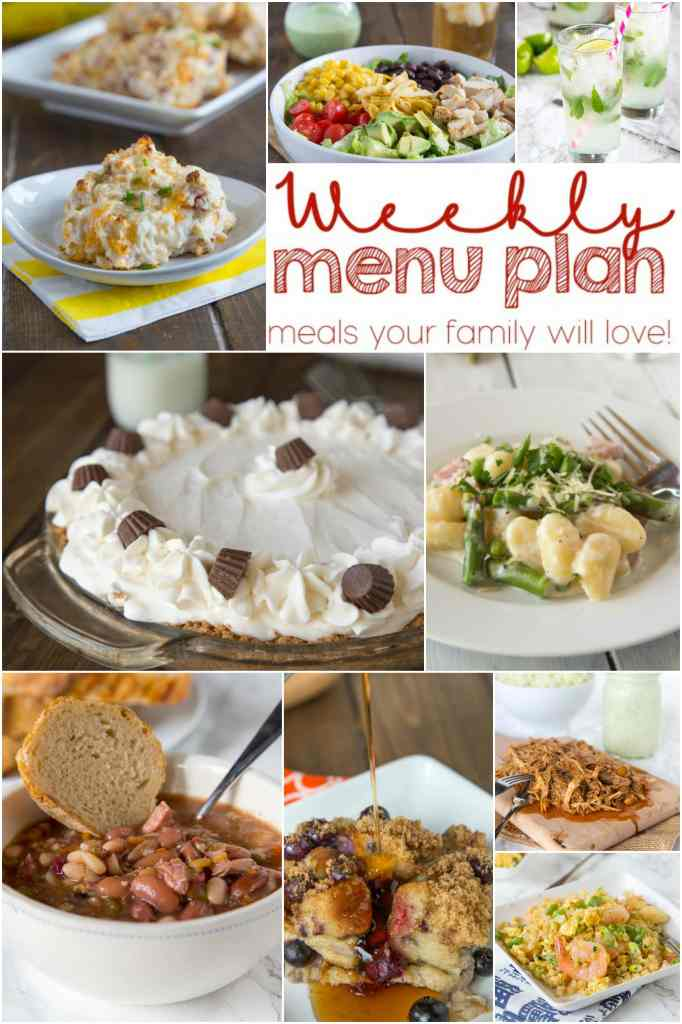 Weekly Meal Plan Week 142 - Make the week easy with this delicious meal plan. 6 dinner recipes, 1 side dish, 1 dessert, and 1 fun cocktail make for a tasty week!