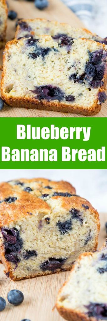 Blueberry Banana Bread - A tender and moist classic banana bread full of juicy blueberries. Use fresh or frozen berries to make this any time of year!