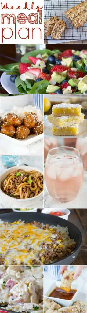 Weekly Meal Plan Week 145 - Make the week easy with this delicious meal plan. 6 dinner recipes, 1 side dish, 1 dessert, and 1 fun cocktail make for a tasty week!