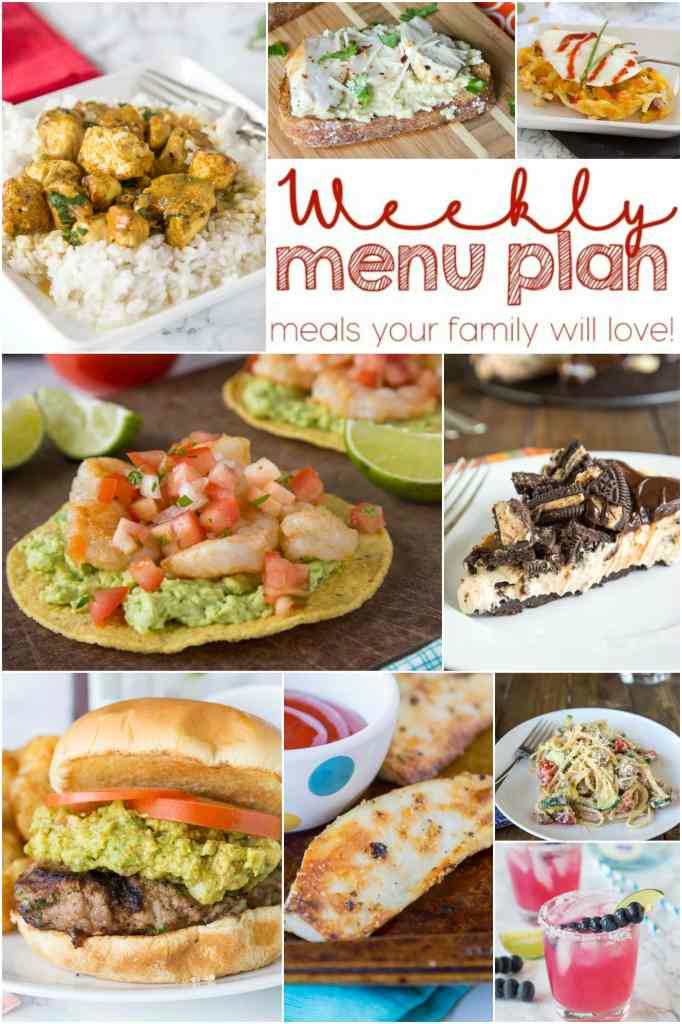 Weekly Meal Plan Week 150 - Make the week easy with this delicious meal plan. 6 dinner recipes, 1 side dish, 1 dessert, and 1 fun cocktail make for a tasty week!