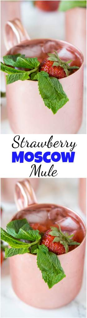 Strawberry Moscow Mule - strawberries giving a classic Moscow Mule a sweet and fun twist! Whip these up today, they are perfect to sip on any day of the week! #mule #moscowmule #drinks #happyhour #cocktails #alcohol
