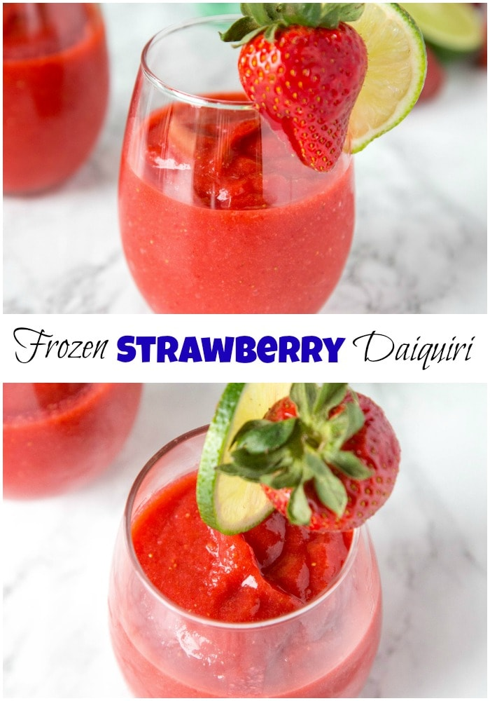 Frozen Strawberry Daiquiri - nothing beats a strawberry daiquiri!  This frozen version is so easy you can make it all summer long! #drinks #cocktails #alcohol #daiquiri