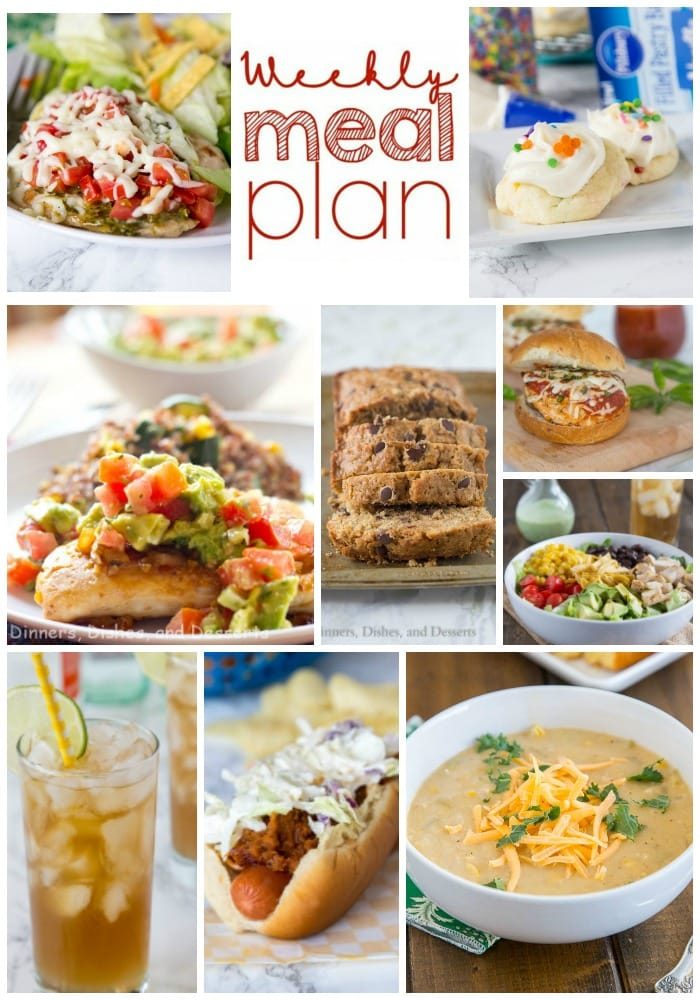 Weekly Meal Plan Week 155 - Make the week easy with this delicious meal plan. 6 dinner recipes, 1 side dish, 1 dessert, and 1 fun cocktail make for a tasty week!