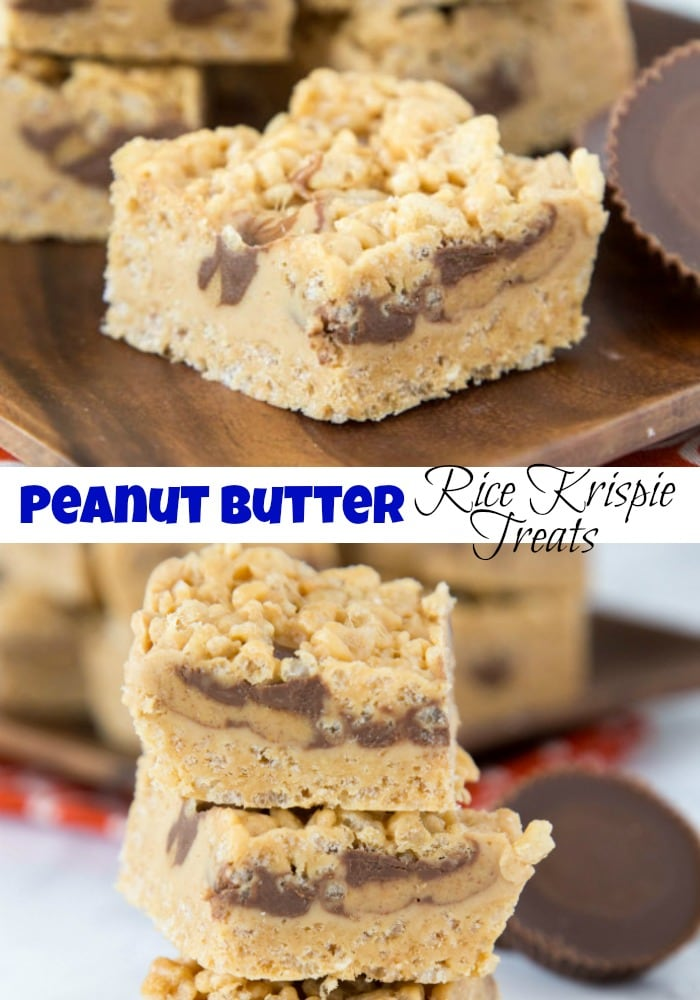 Peanut Butter Rice Krispie Treats - Classic rice krispie treats turned up a notch with lots of peanut butter, peanut butter fudge, and peanut butter cups!  No bake, super easy, and over the top amazing!  #peanutbutter #ricekrispietreats #dessert #food #nobakedesserts