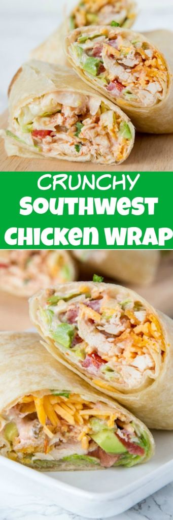 Crunchy Southwestern Chicken Wrap - easy lunch ideas are hard to come by. This chicken wrap recipe come together in minutes, you can make them ahead, and the creamy spicy sauce makes them extra tasty!