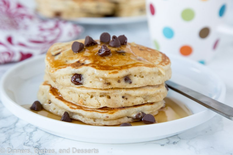 Chocolate Chip Banana Pancakes - light and fluffy banana pancakes with lots of chocolate chips. Great to use up those bananas on your counter!