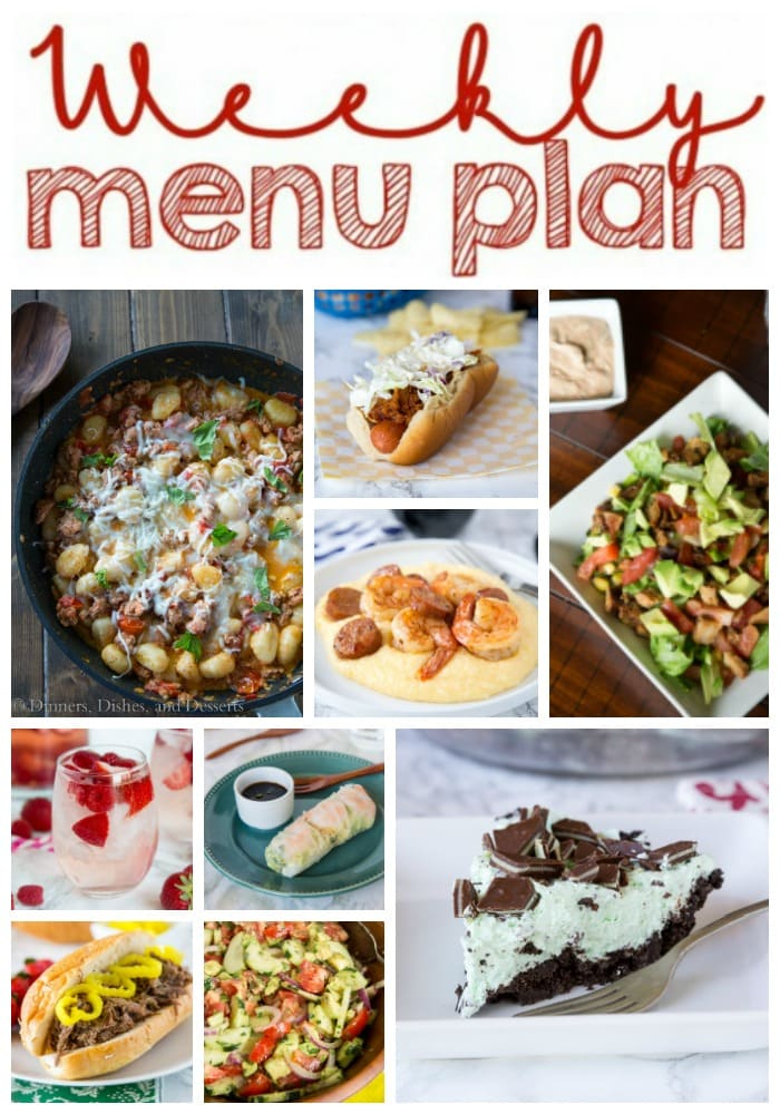 Weekly Meal Plan Week 161 - Make the week easy with this delicious meal plan. 6 dinner recipes, 1 side dish, 1 dessert, and 1 fun cocktail make for a tasty week!