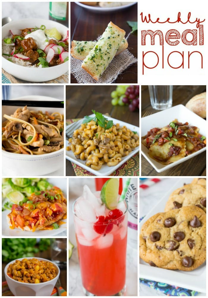 Weekly Meal Plan Week 166 - Make the week easy with this delicious meal plan. 6 dinner recipes, 1 side dish, 1 dessert, and 1 fun cocktail make for a tasty week!