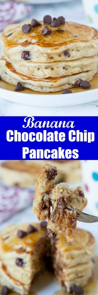 Chocolate Chip Banana Pancakes - light and fluffy banana pancakes with lots of chocolate chips. Great to use up those bananas on your counter!
