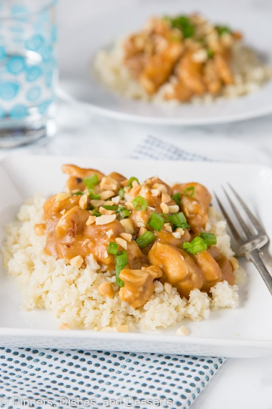 Chicken Satay Stir Fry - all the flavors of your traditional chicken satay served on skewers, but in a stir fry form over rice as a quick and easy dinner!