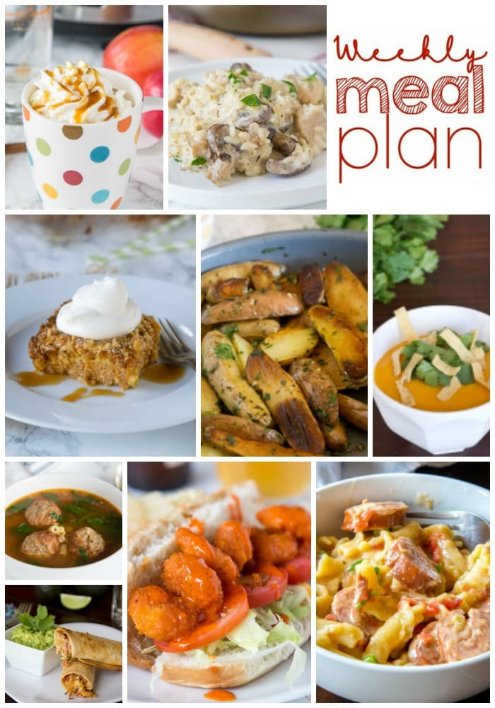 Weekly Meal Plan Week 169 - Make the week easy with this delicious meal plan. 6 dinner recipes, 1 side dish, 1 dessert, and 1 fun cocktail make for a tasty week!