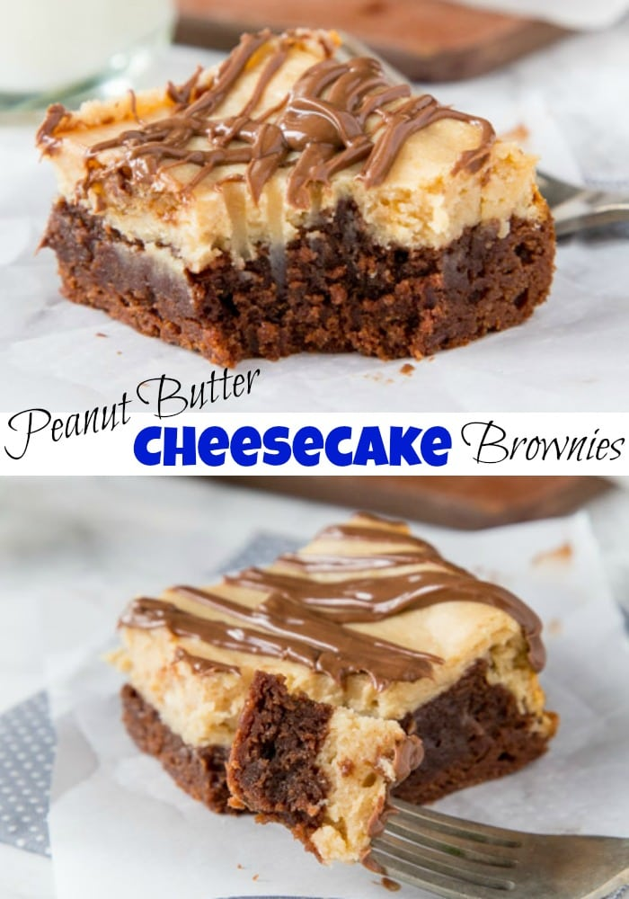 Peanut butter cheesecake brownie on a table