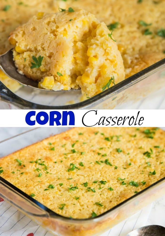 Corn Casserole Recipe - A classic holiday side dish that is easy enough to make any night of the week. A cross between creamed corn and cornbread makes a delicious addition to any meal.